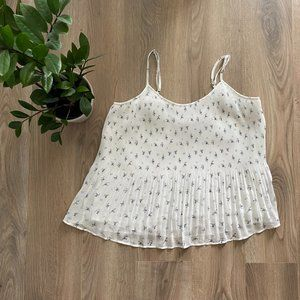 A&F White & Blue Pleated Floral Pattern Camisole